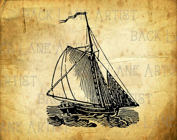 Vintage Nautical Sailing Boat Sailboat Clipart Lineart.