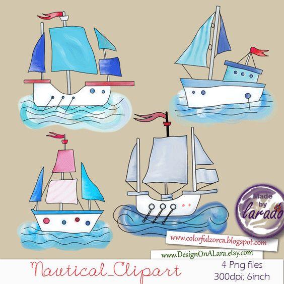 Nautical Clipart, Sailing Boat clip art, Hand Drawn boats clip art.