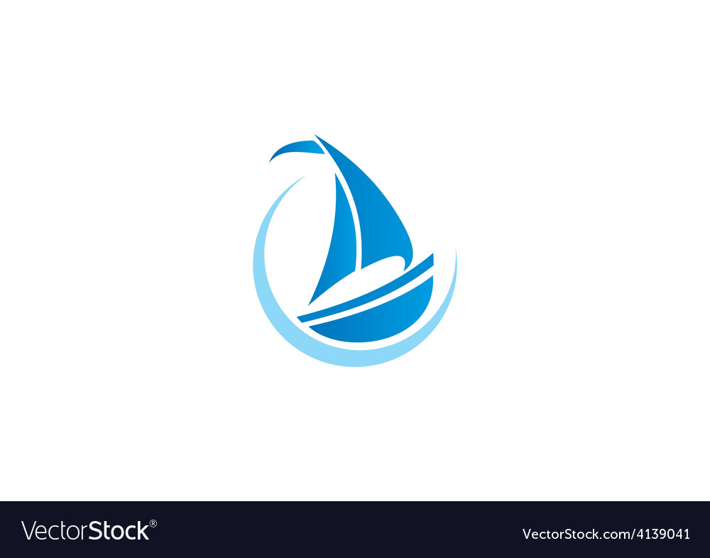 Sailing boat yacht abstract logo.