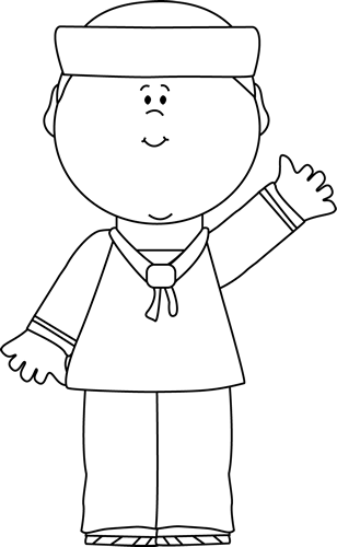 Black and White Sailor Waving Clip Art.