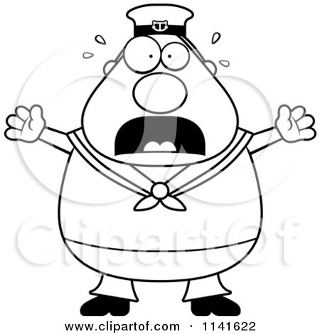 Cartoon Clipart Of A Black And White Happy Sailor.
