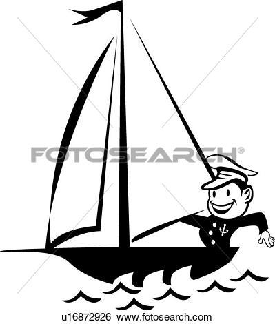 Clip Art of Sailor in a boat u16872926.