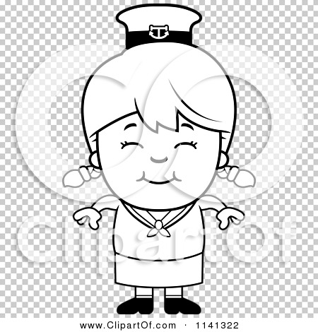 Cartoon Clipart Of A Black And White Happy Sailor Girl.