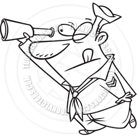 Cartoon Sailor Spyglass (Black and White Line Art) by Ron Leishman.