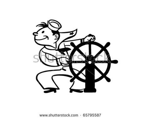 Sailor Helm Retro Clipart Illustration Stock Vector 65795587.