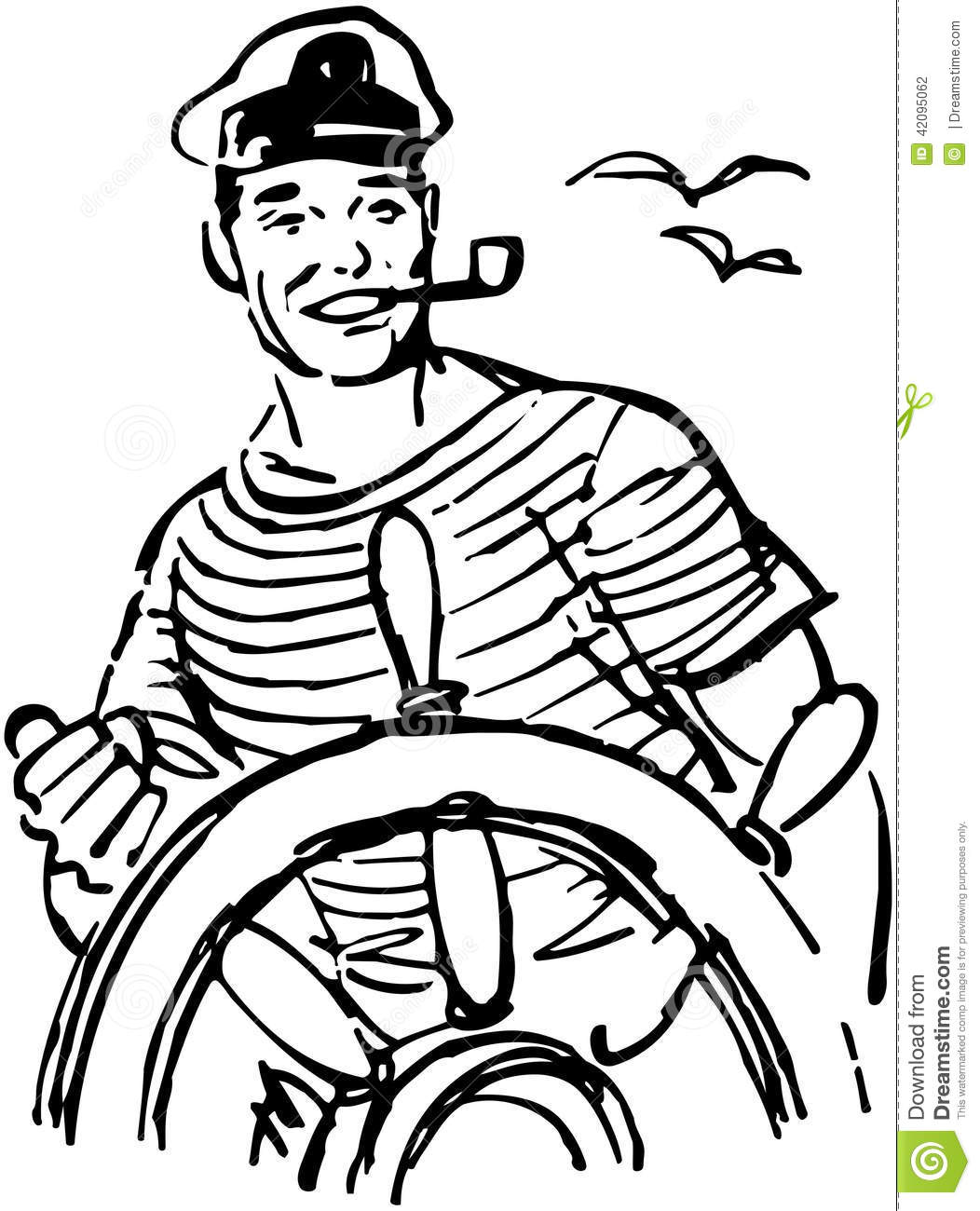 Sailor At The Helm Stock Vector.
