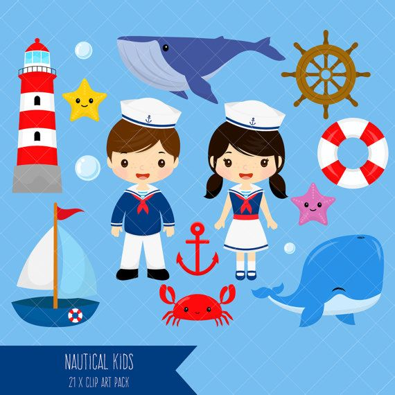 Nautical Kids Clipart / Sailor Boy Clip Art / Sailor Girl.