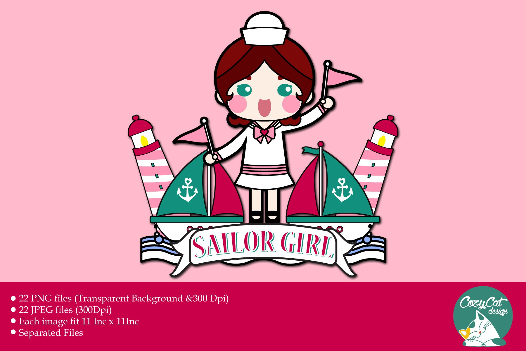 Digital Clipart Sailor Girl.