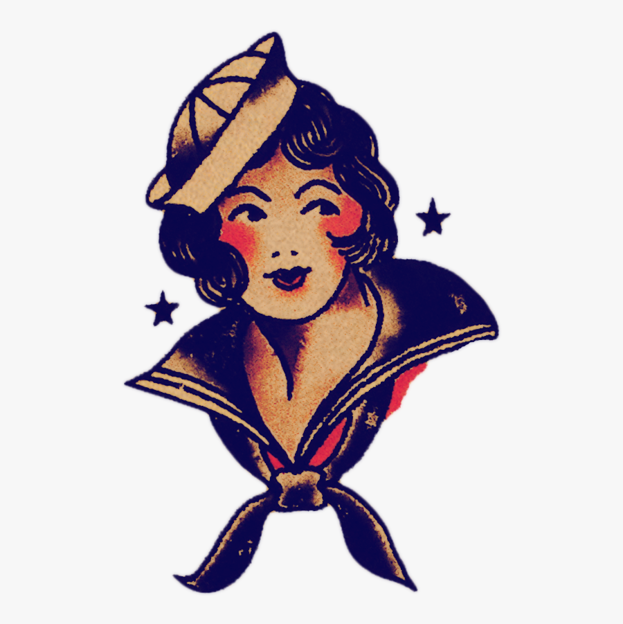 Traditional Sailor Girl Tattoo , Free Transparent Clipart.