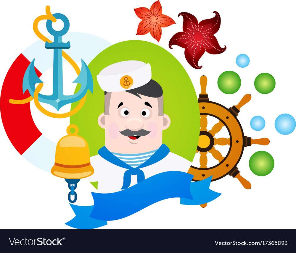 With a sailor clipart on the sea theme.