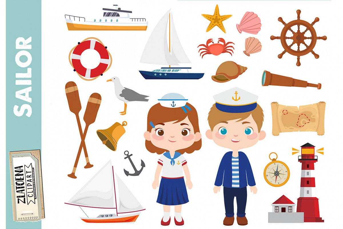 Sailor Clipart Nautical graphics Ship Yacht Sailboat clipart.