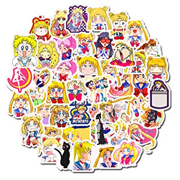 Sailor Moon Anime Girl Stickers Laptop Stickers Waterproof Skateboard  Snowboard Car Bicycle Luggage Decal 50pcs Pack.