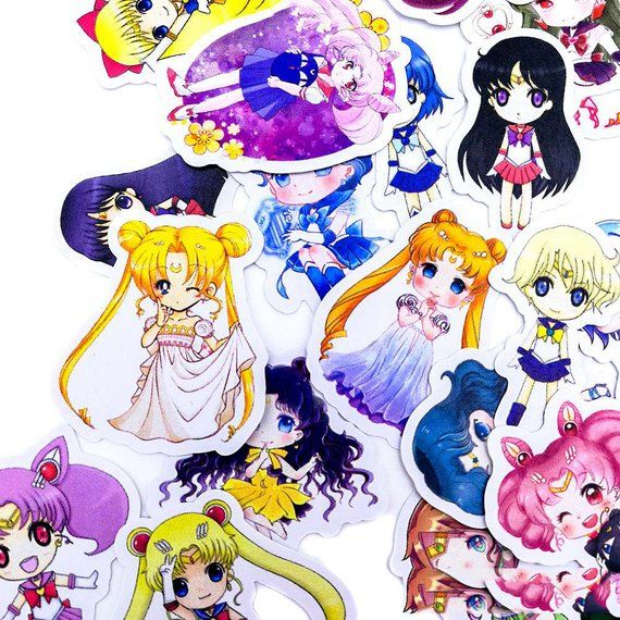 Sailor Moon Chibi Sticker Pack Laptop Stickers Cute Stickers.
