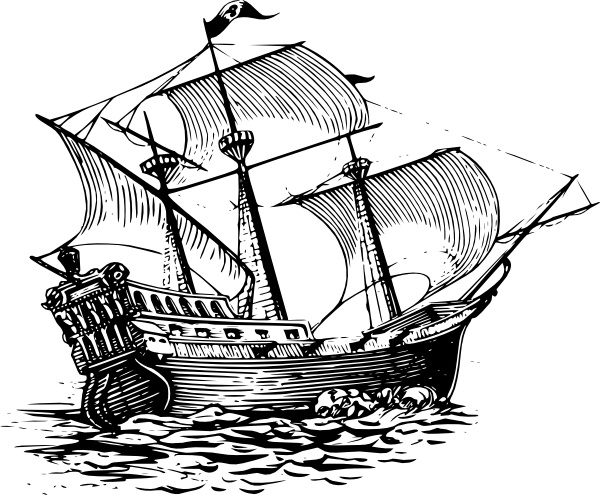 Galleon Sail Ship clip art Free vector in Open office drawing svg.