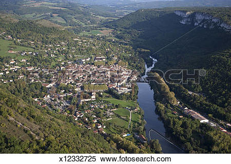 Stock Image of Aerial view of St. Antonin Noble Val, France.