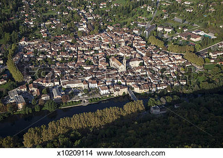 Stock Photo of Aerial view of St. Antonin Noble Val, France.