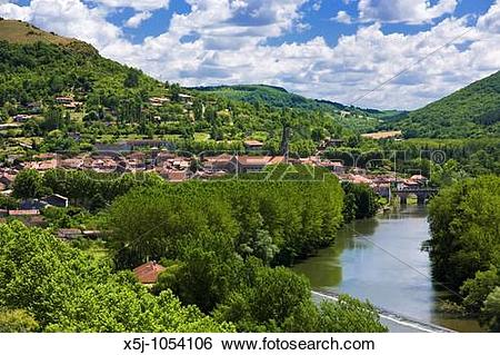 Stock Images of St Antonin Noble Val and the River Aveyron in Tarn.