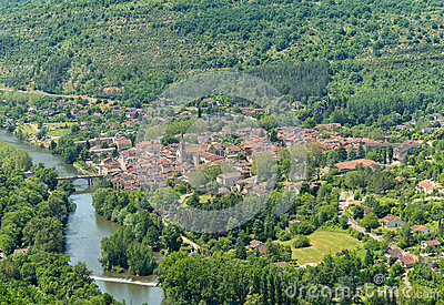 Aerial View Of Saint Antonin Noble Val, A Village Stock Photo.