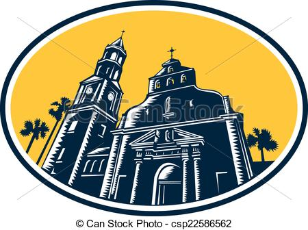 Clip Art Vector of Cathedral Basilica of St. Augustine Woodcut.