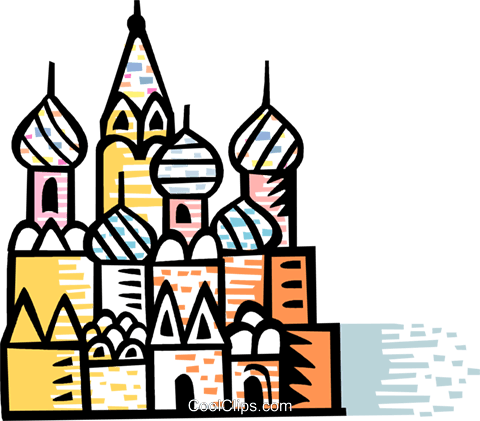 St. Basil's Cathedral Red Square Moscow Royalty Free Vector Clip.