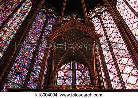 Stock Photo of Stained glass window in La Sainte.