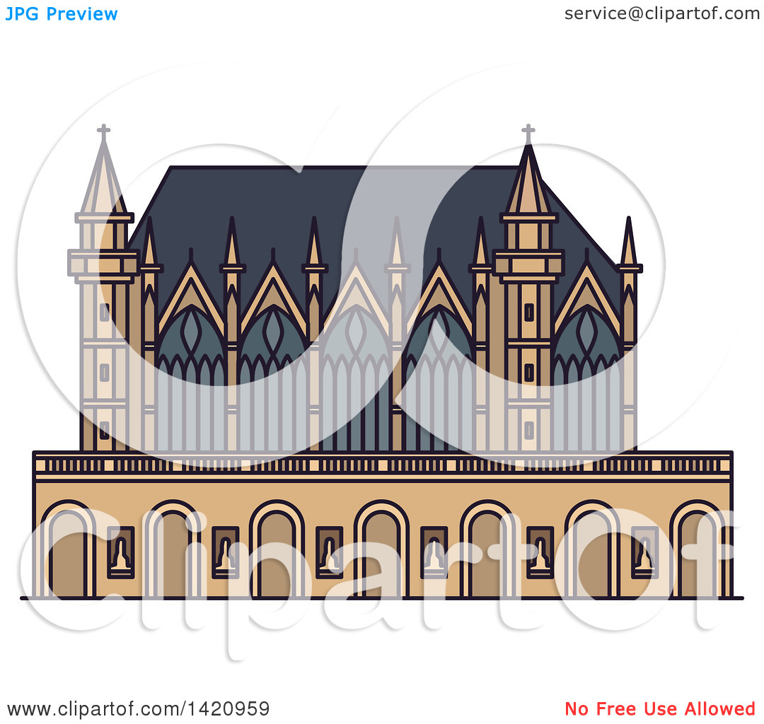 Clipart of a French Landmark, Chapel Sainte.