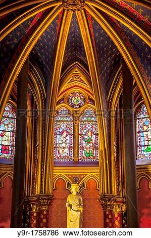Stock Images of Interior of the lower chapel, Sainte Chapelle.