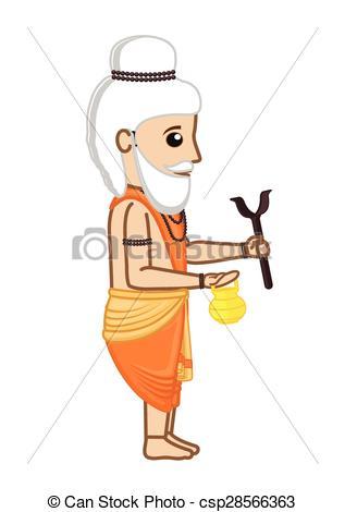Clip Art Vector of Old Cartoon Indian Saint Character Vector.