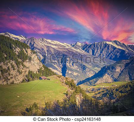 Stock Photo of Dramatic sunset on the Col de la Bonette pass.