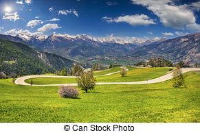 Picture of Sunny spring day on the Col de la Bonette pass, Saint.