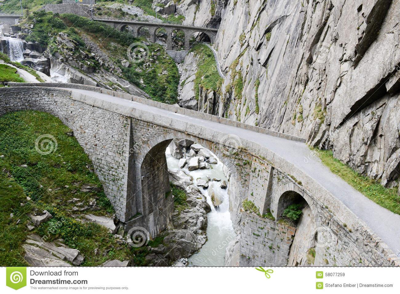 Devil's Bridge At St. Gotthard Pass Stock Photo.