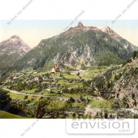 Picture of the Saint Gotthard Railwayand the Church in Wassen.
