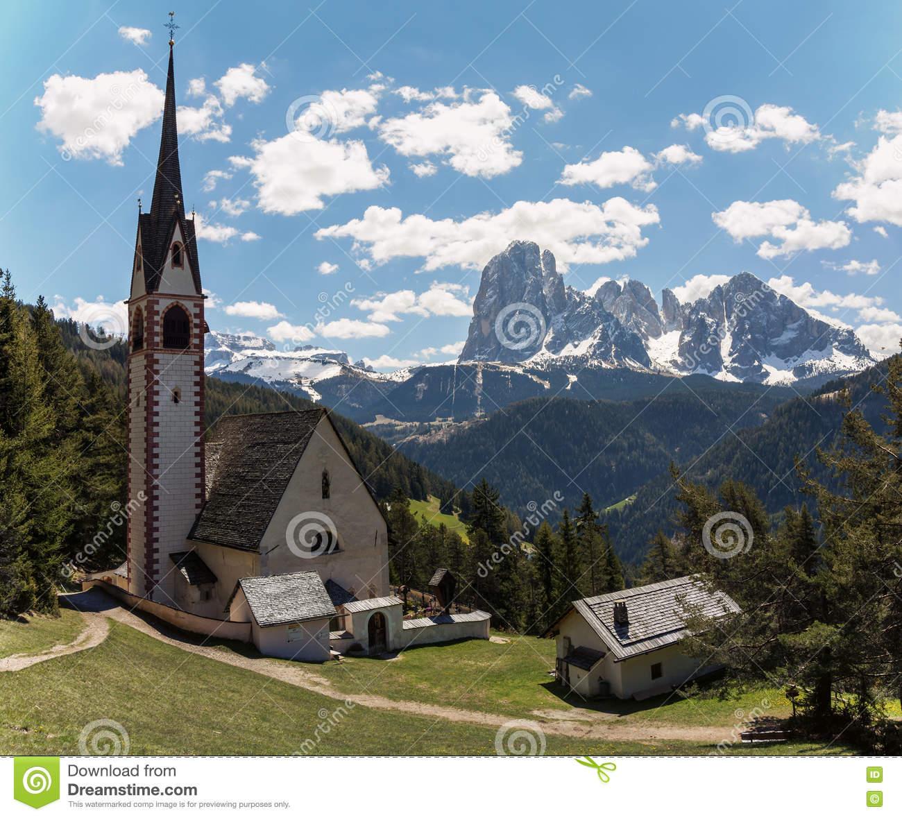 Church Of St. Jakob At Ortisei, Italy Stock Photo.