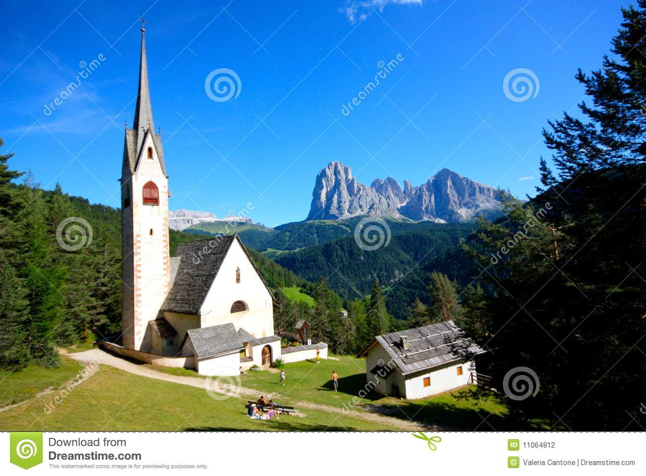 Church Of St. Jakob At Ortisei, Italy Stock Photo.