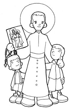 Saint John Bosco Catholic Saint coloring page for children. Feast.