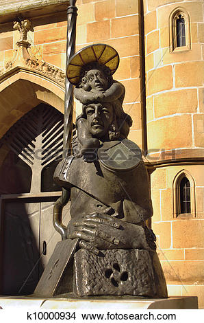 Stock Photo of A statue nearby Church of Saint Kilian in Heilbronn.