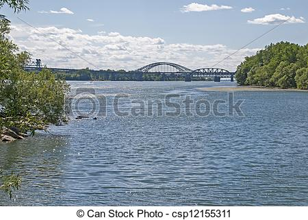 Stock Photography of Bridge over St. Lawrence River.