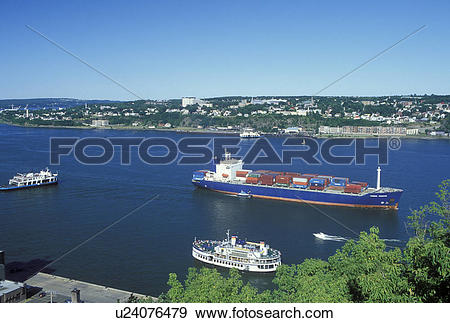 Stock Photograph of Quebec City, Canada, Quebec, Ferry and barge.