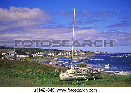 Stock Photo of North shore of Gaspe Peninsula on St. Lawrence.