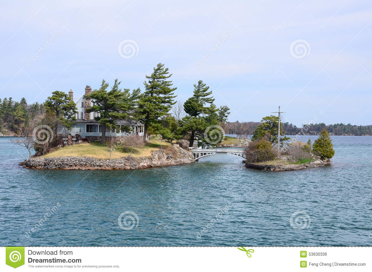 One Small Island And Small Bridge On St Lawrence River Stock Photo.