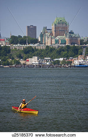 Stock Photography of Young woman sea kayaking in the St Lawrence.