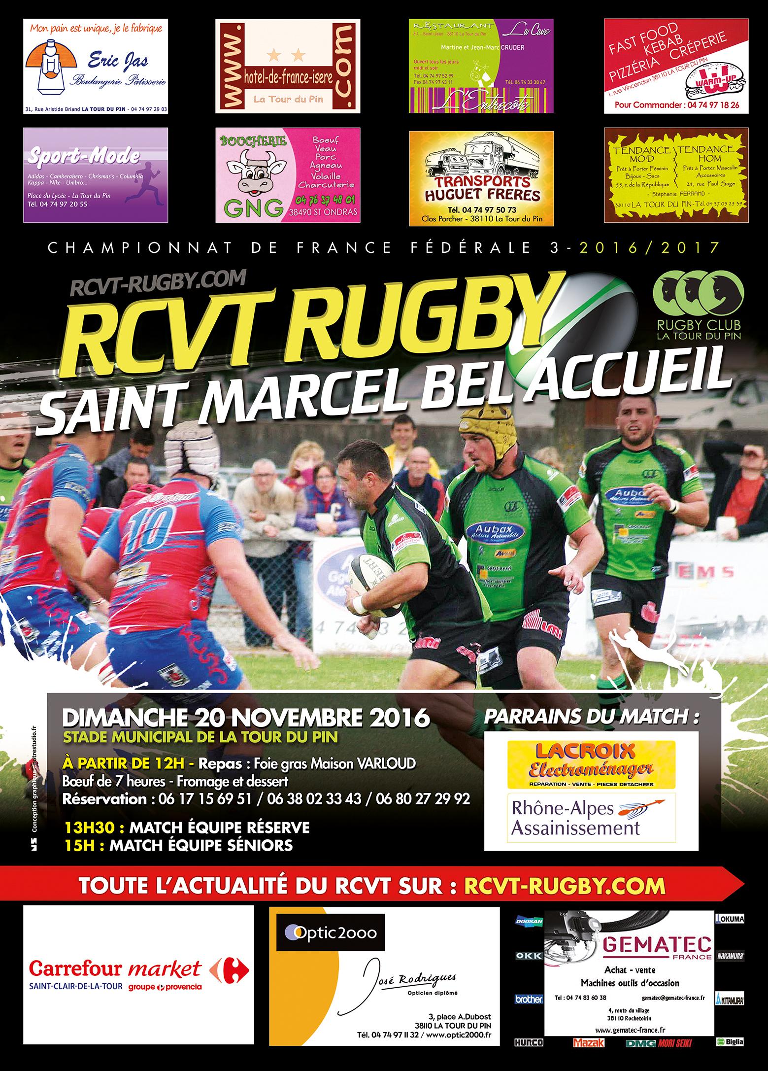 Match rugby : RCVT vs ST MARCEL BEL ACCUEIL.