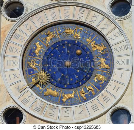 Pictures of Astronomical Clock Tower. St. Mark's Square (Piazza.