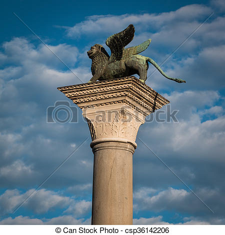 Stock Photography of Winged Lion Column in St. Mark's Square.