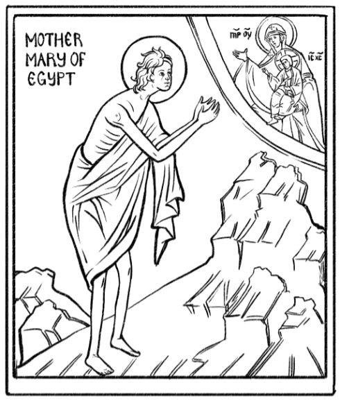 Coloring page and craft suggestion for St. Mary of Egypt.