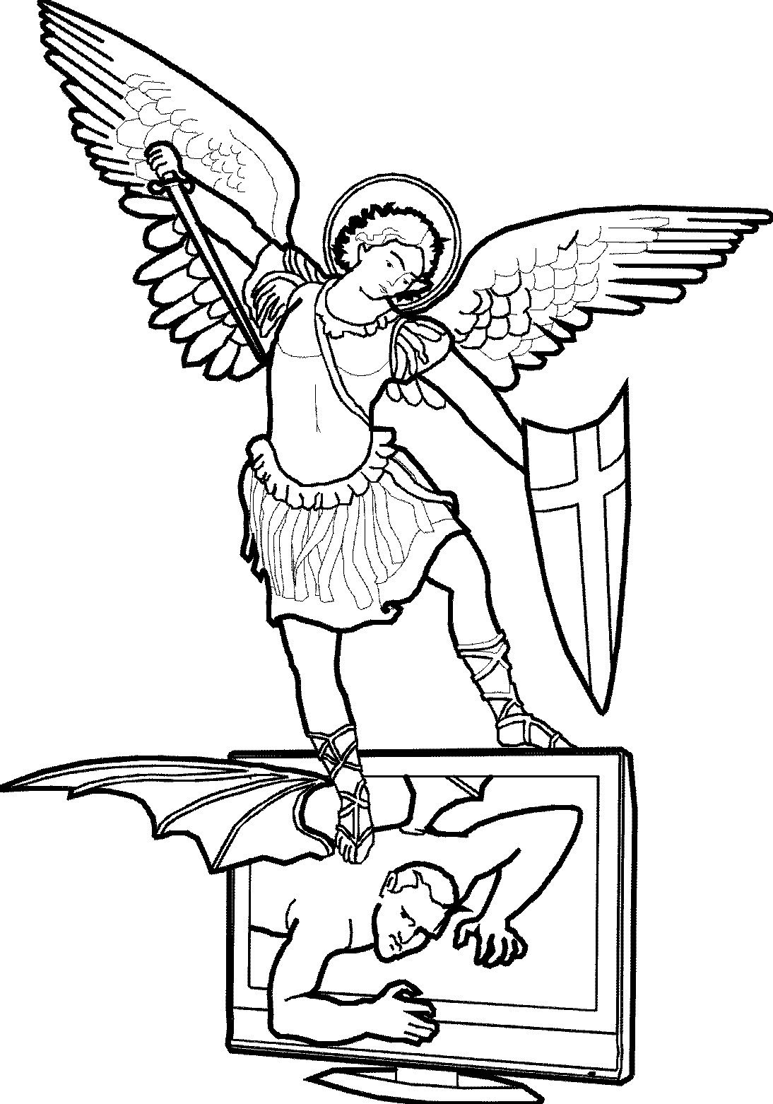 St michael clipart clipground for Archangel michael coloring page