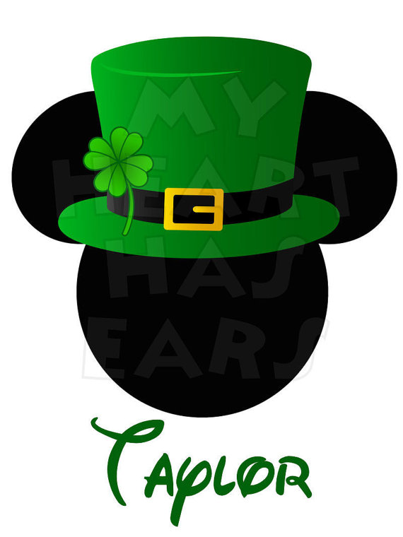 Printable DIY Mickey Mouse in St. Patrick's Day digital clip art.