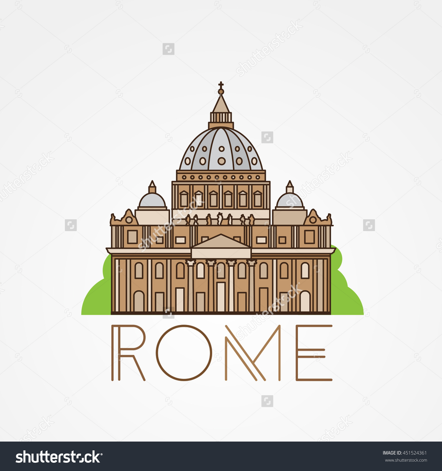 World Famous St Peter Basilica Greatest Stock Vector 451524361.