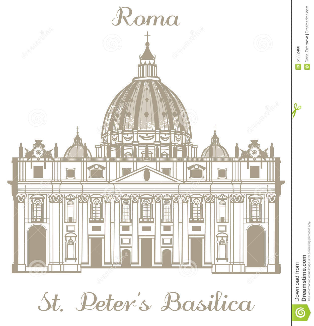 Vector Illustration Of St Peters Basilica Editorial Image.