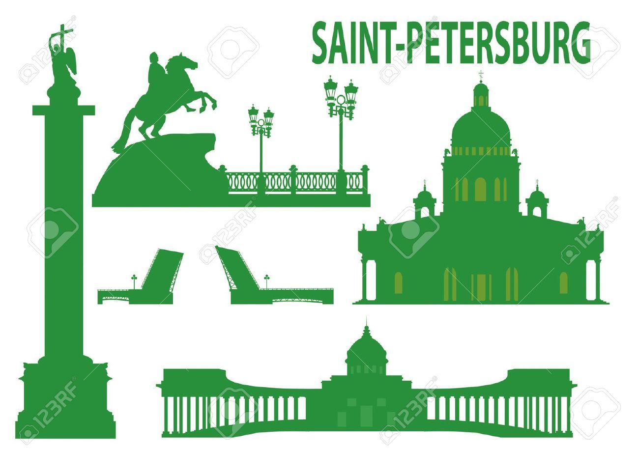 Saint Petersburg Skyline And Symbols. Vector Illustration Royalty.
